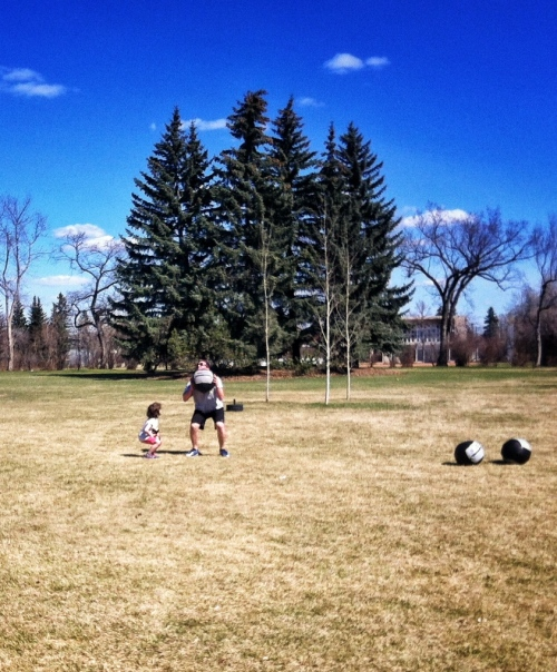 "Cory gets some Med Ball Clean coaching from daughter Chloe. ""Get your elbows around faster Dad!!!"""